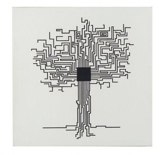 Albero chip - 50 x 50 cm acrilico su tela - 2014