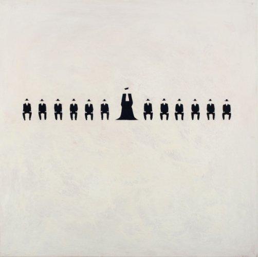 Conosci l'imputazione - 100 x 100 cm acrilico su tela - 2013